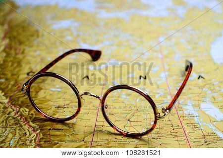Glasses on a map - Canada