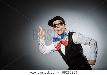 Funny man with giant bow tie