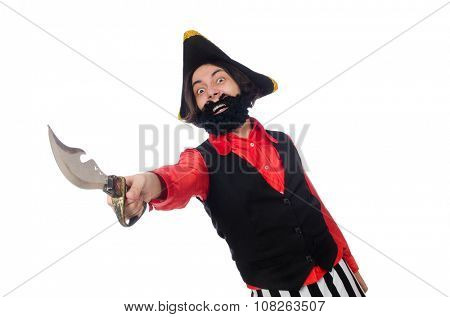 Funny pirate isolated on the white