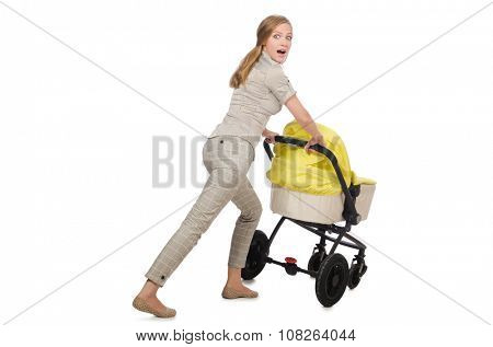 Woman with pram isolated on white