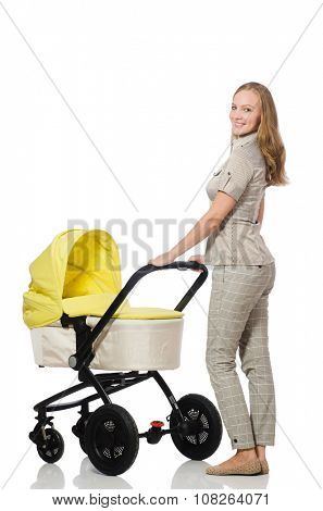 Woman with baby and pram isolated on white