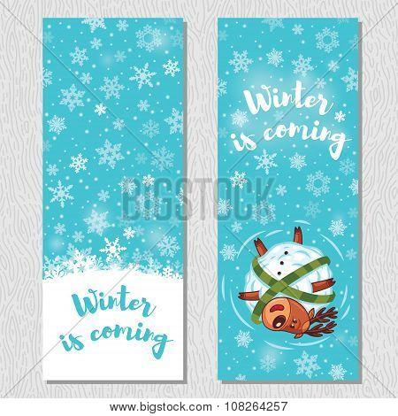 Winter banner design vertical background set with cute cartoon deer