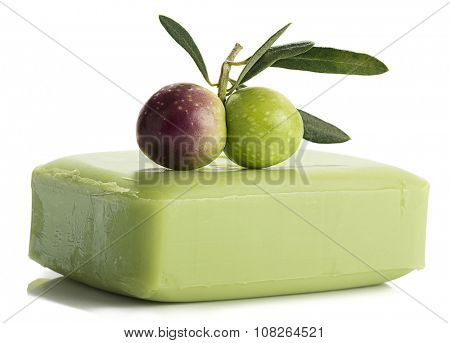 Green Olive's Branch on Soap