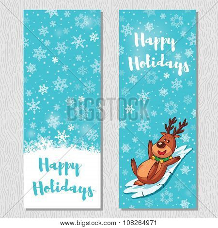 Happy Holidays design vertical background set with cute cartoon deer