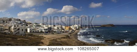 Panorama of Naxos in the Cyclades, Greece