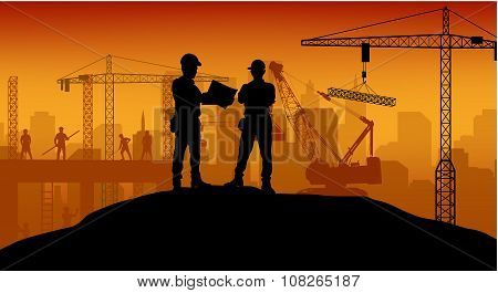 Construction worker at work with worker standing