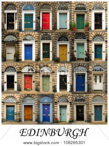 A collage of Scottish doors, presented in a white border with the city name Edinburgh.