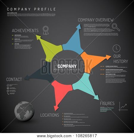 Vector Company infographic overview design template with colorful arrows and icons - dark version