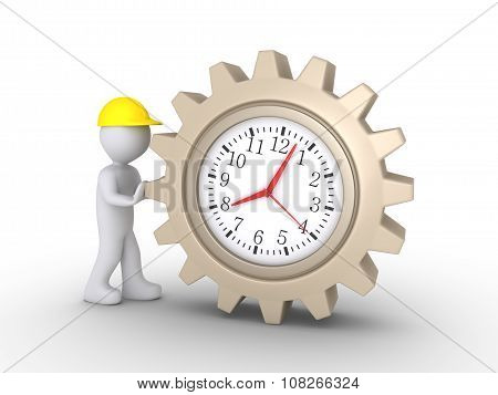 Worker Pushing Clock Cogwheel