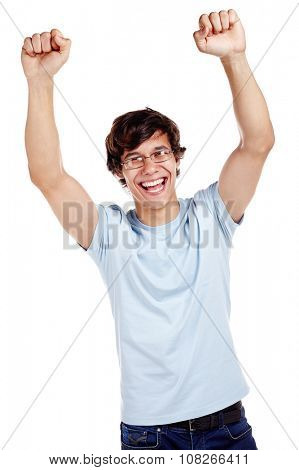 Young hispanic man wearing glasses, blue t-shirt and jeans celebrating win with raised fists and loudly laughing isolated on white background - success concept
