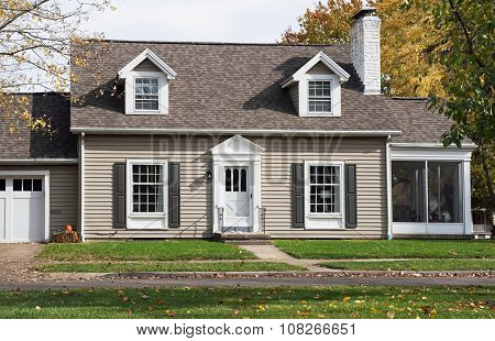 Cape Cod House with Screened-in Porch