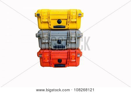 Hard Case Plastic Color Protect Water Resistant Equipment, Isolated On White