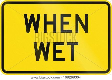 New Zealand Road Sign - Road Surface Slippery When Wet