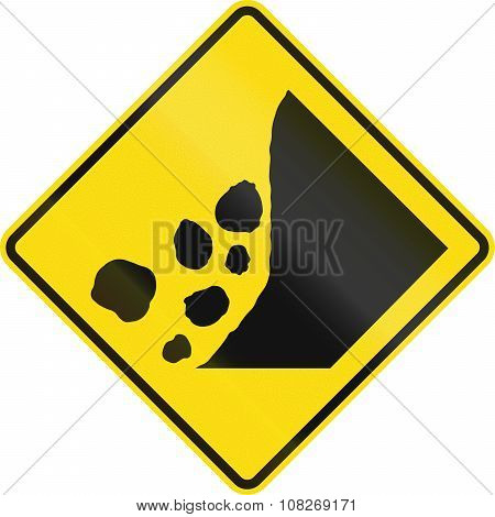 New Zealand Road Sign - Falling Rocks Or Debris On Right