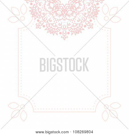 Light pink mandala card template background.