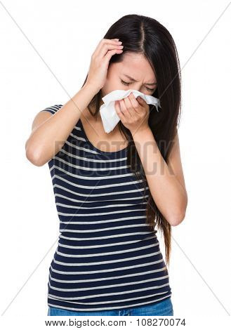 Young Woman feeling unwell and head pain