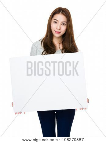 Asian Young Woman hold with white banner