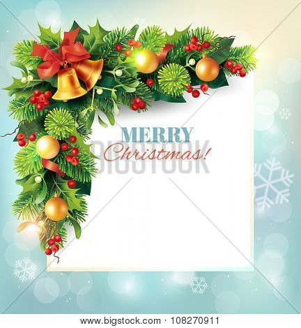 Christmas background with beautiful fir garland and place for message. Vector illustration.