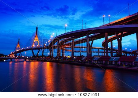 Bhumibol Bridge Bangkok ThailandThe bridge crosses the Chao Phraya River twice.