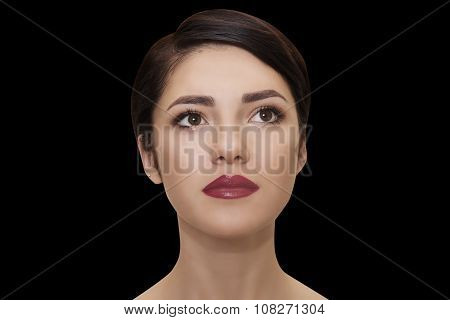 close portrait of beautiful brunet woman
