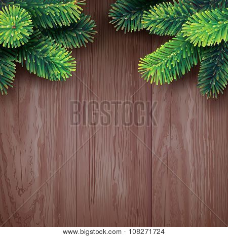 Fir branches on wooden background. Template for Christmas card. Vector.