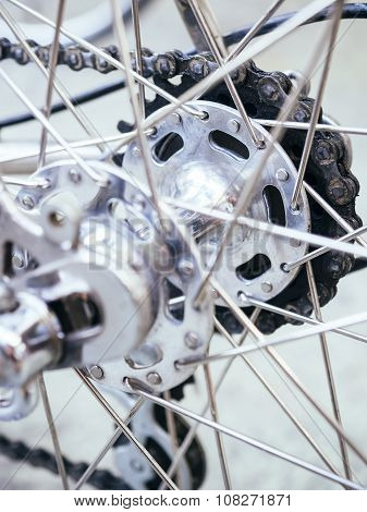 Bicycle Wheel Part With Chain Close Up