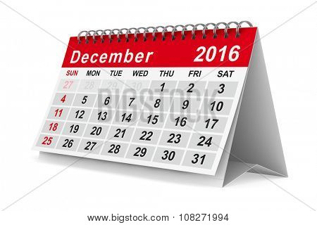 2016 year calendar. December. Isolated 3D image