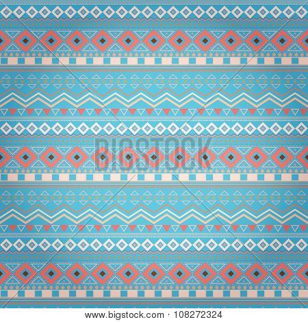 Tribal Ethnic Seamless Stripe Pattern On Blue Background