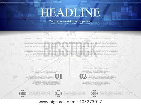 Hi-tech corporate background with blue header. Vector design