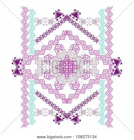 Pattern Design In Ethnic Style For Fashion. Aztec Ornamental Print