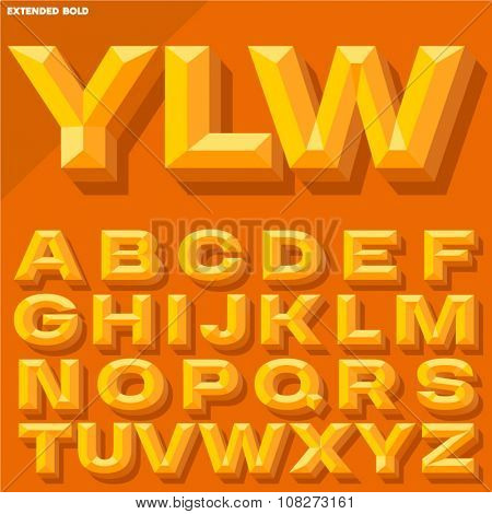 Vector 3D yellow bold beveled alphabet with shadow. Simple colored version.