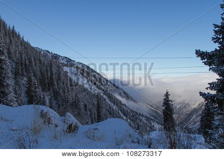 Mist Of Clouds In The Mountains