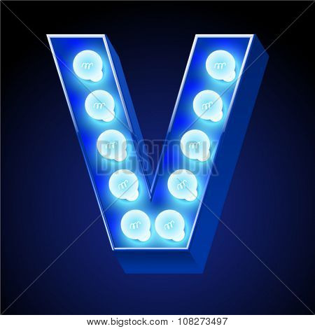 Vector festive alphabet with blue lamp. Letter V