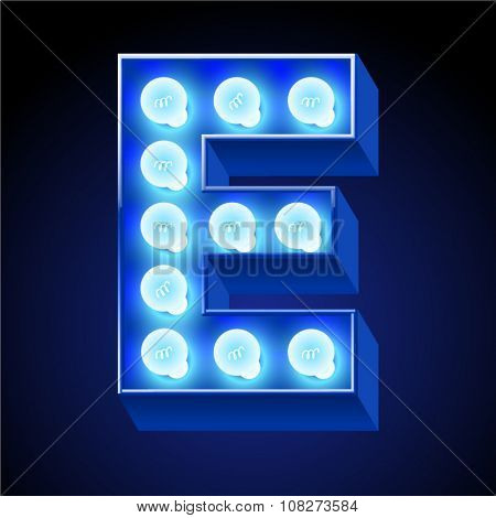 Vector festive alphabet with blue lamp. Letter E