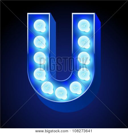 Vector festive alphabet with blue lamp. Letter U