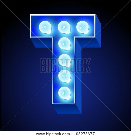 Vector festive alphabet with blue lamp. Letter T