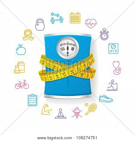 Bathroom Scale. Fitness Concept. Vector