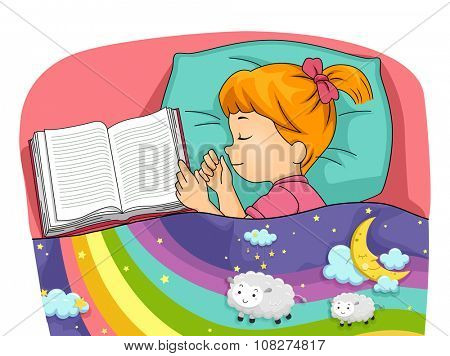 Illustration of a Little Girl Having Colorful Dreams