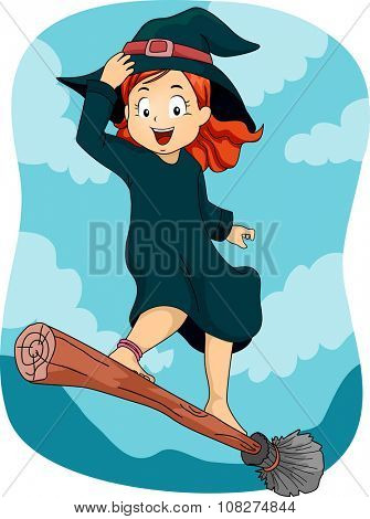 Illustration of a Little Girl Dressed as a Wizard Standing on a Flying Broomstick