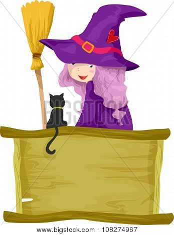 Illustration of a Little Girl Dressed as a Witch Talking to Her Familiar Spirit