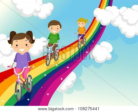 Stickman Illustration of Kids Biking Along a Rainbow