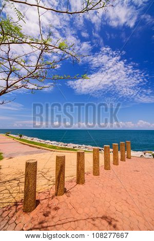 Public Walkway Seaside And Parking Lot In East Side Of The Gulf Of Thailand.