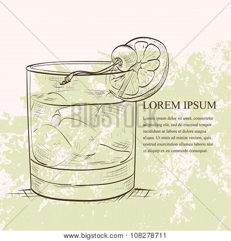 Old fashioned cocktail scetch