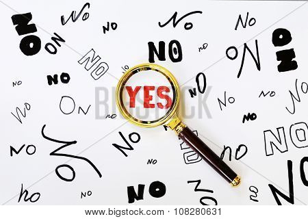 the words yes and no on a white background (yes red)