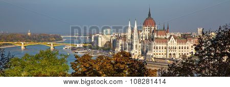 Panorama with Hungarian Parliament building and Danube river at sunset,  Budapest, Hungary