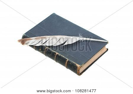 Old Book And Quill Pen