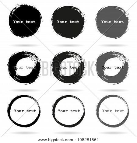 Set Of 9 Hand Drawn Scribble Circles, Vector Elements Design