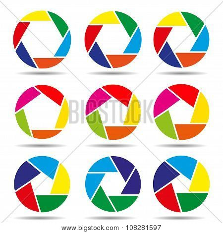 Camera Shutter Icons Colorful Vector Illustration