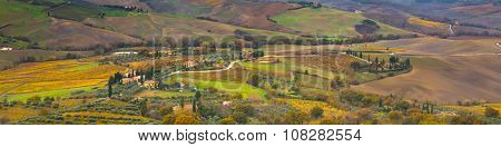 Vibrant autumn Tuscany panoramic landscape with houses, fields, cypress, vineyards