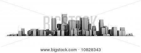 Große Stadtansicht Modell 3D - glänzend dunkel grau Stadt weißer Hintergrund